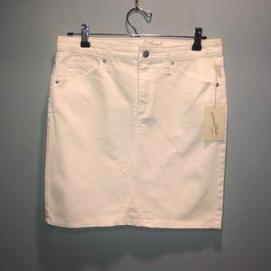 NWT White denim skirt